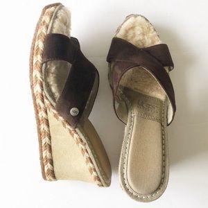 UGG Brown Suede Margot Wedge Platform Sandal Sz 9